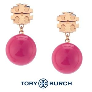 NWT Tory Burch Evie Red Pearl Drop Earrings